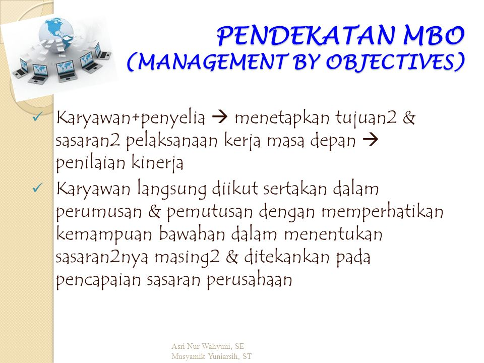PENDEKATAN MBO (MANAGEMENT BY OBJECTIVES)