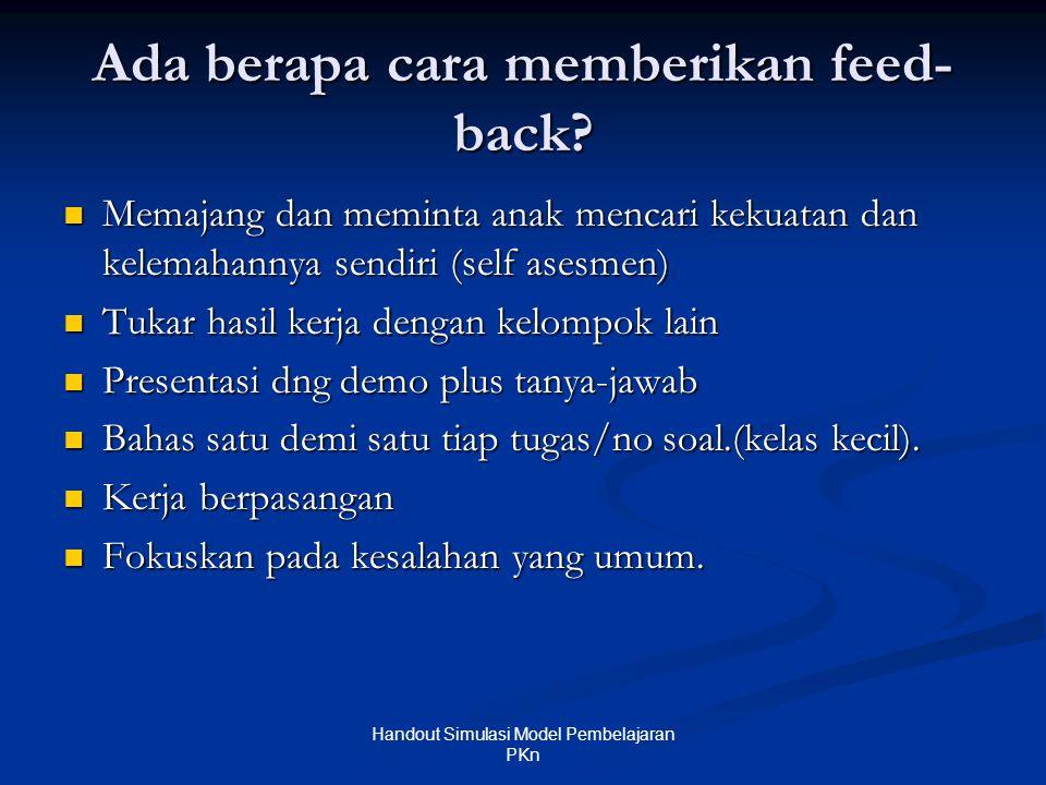 Ada berapa cara memberikan feed-back