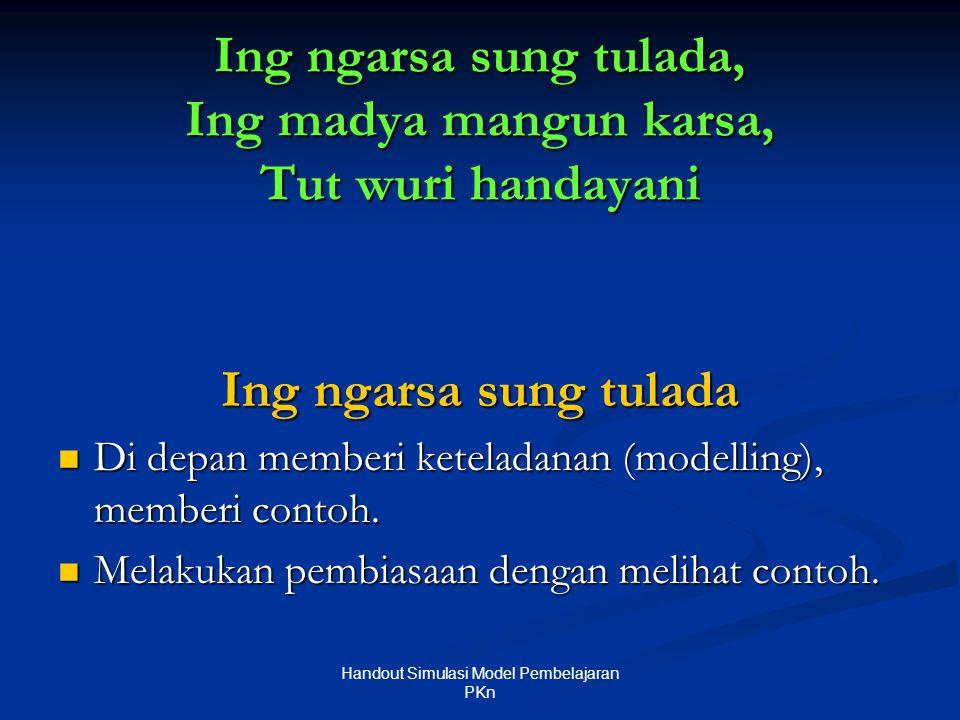 Ing ngarsa sung tulada, Ing madya mangun karsa, Tut wuri handayani