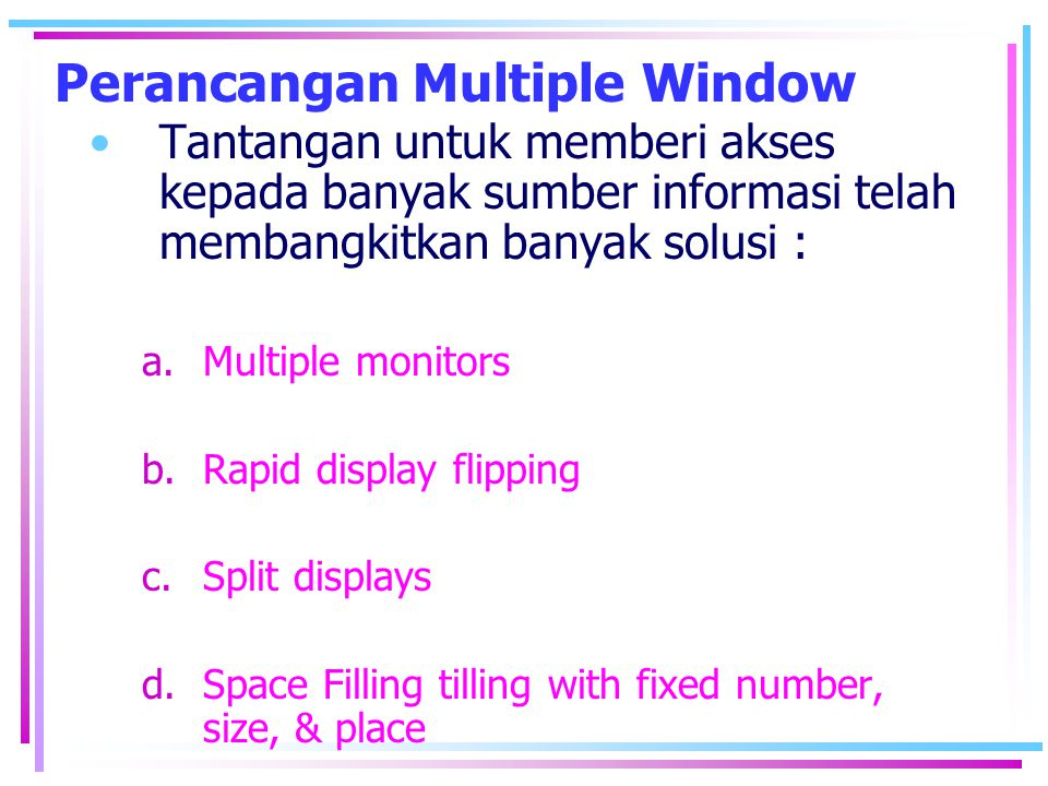 Perancangan Multiple Window