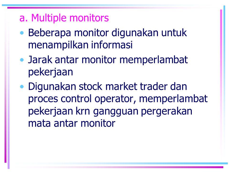 a. Multiple monitors Beberapa monitor digunakan untuk menampilkan informasi. Jarak antar monitor memperlambat pekerjaan.