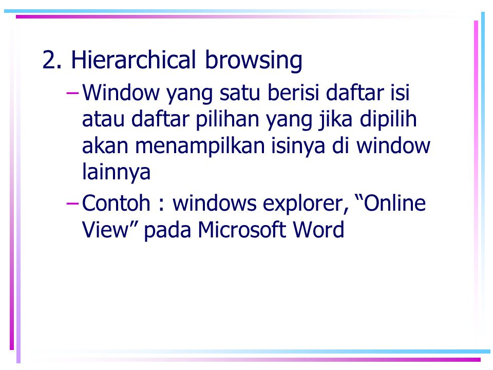 2. Hierarchical browsing
