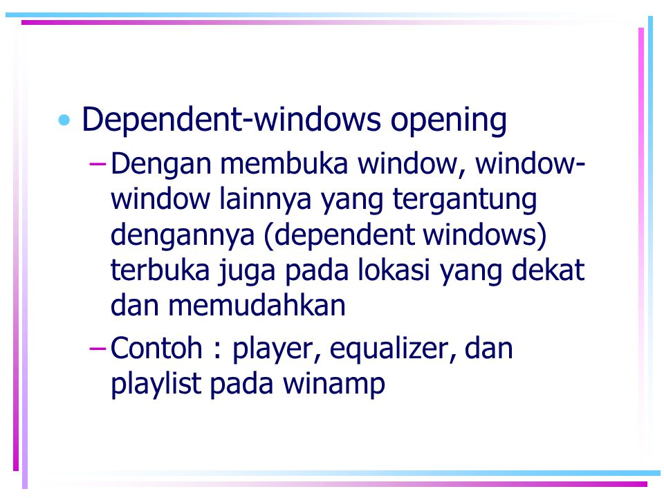 Dependent-windows opening