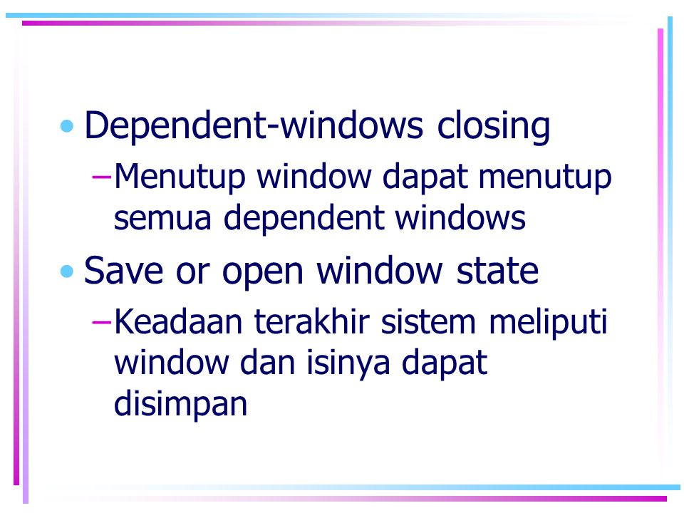 Dependent-windows closing