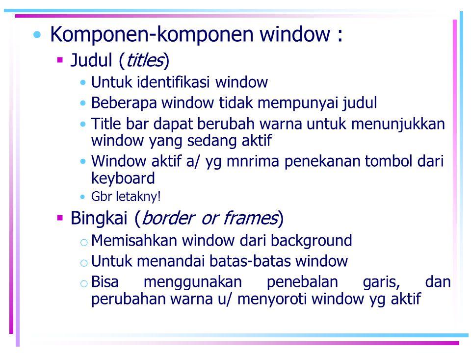 Komponen-komponen window :
