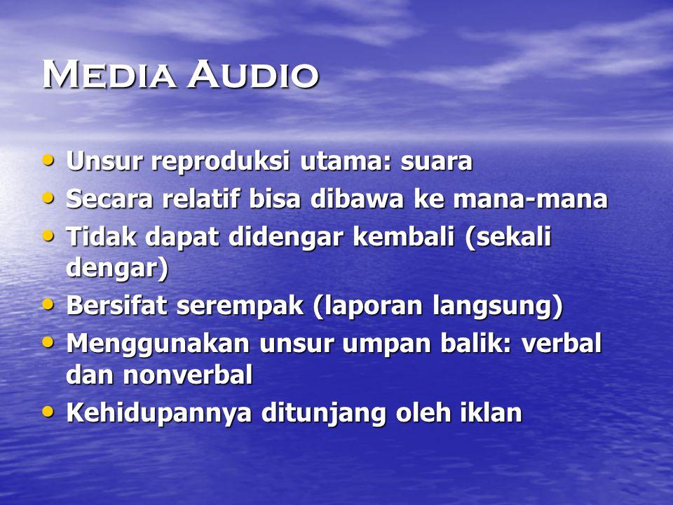 Media Audio Unsur reproduksi utama: suara