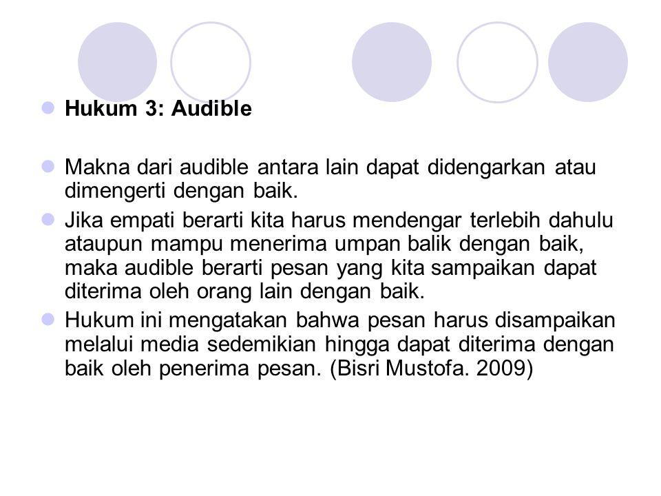 Hukum 3: Audible Makna dari audible antara lain dapat didengarkan atau dimengerti dengan baik.