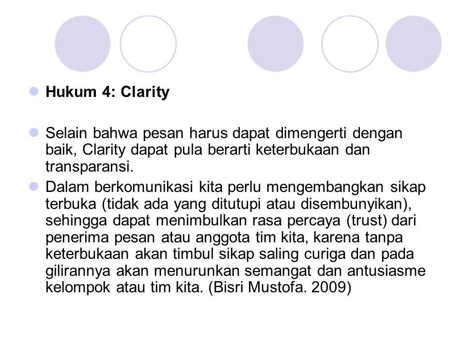 Hukum 4: Clarity Selain bahwa pesan harus dapat dimengerti dengan baik, Clarity dapat pula berarti keterbukaan dan transparansi.