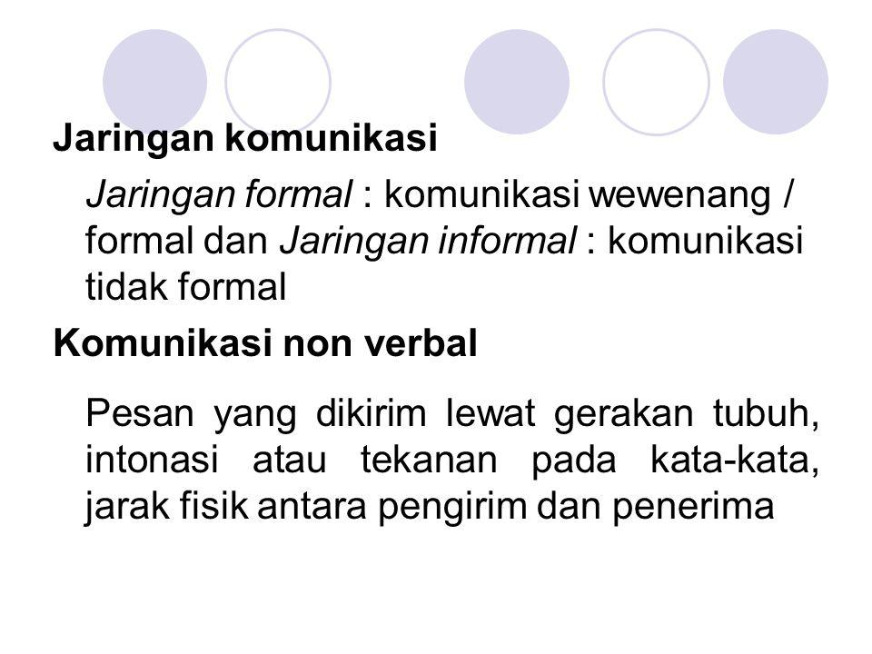 Jaringan komunikasi Jaringan formal : komunikasi wewenang / formal dan Jaringan informal : komunikasi tidak formal.