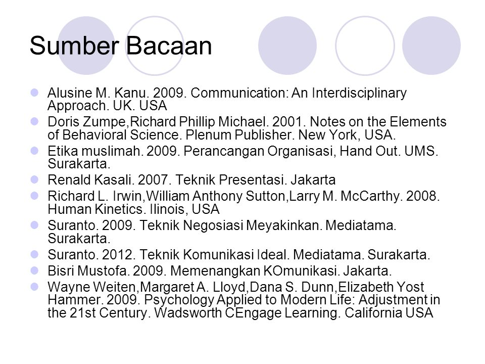 Sumber Bacaan Alusine M. Kanu. 2009. Communication: An Interdisciplinary Approach. UK. USA.
