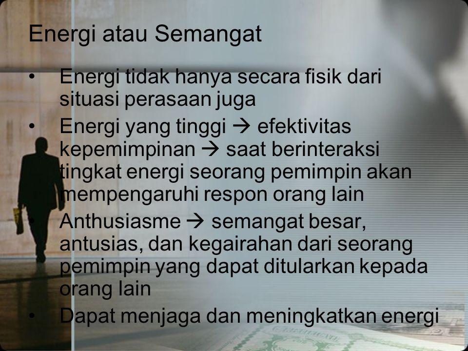 Energi atau Semangat Energi tidak hanya secara fisik dari situasi perasaan juga.
