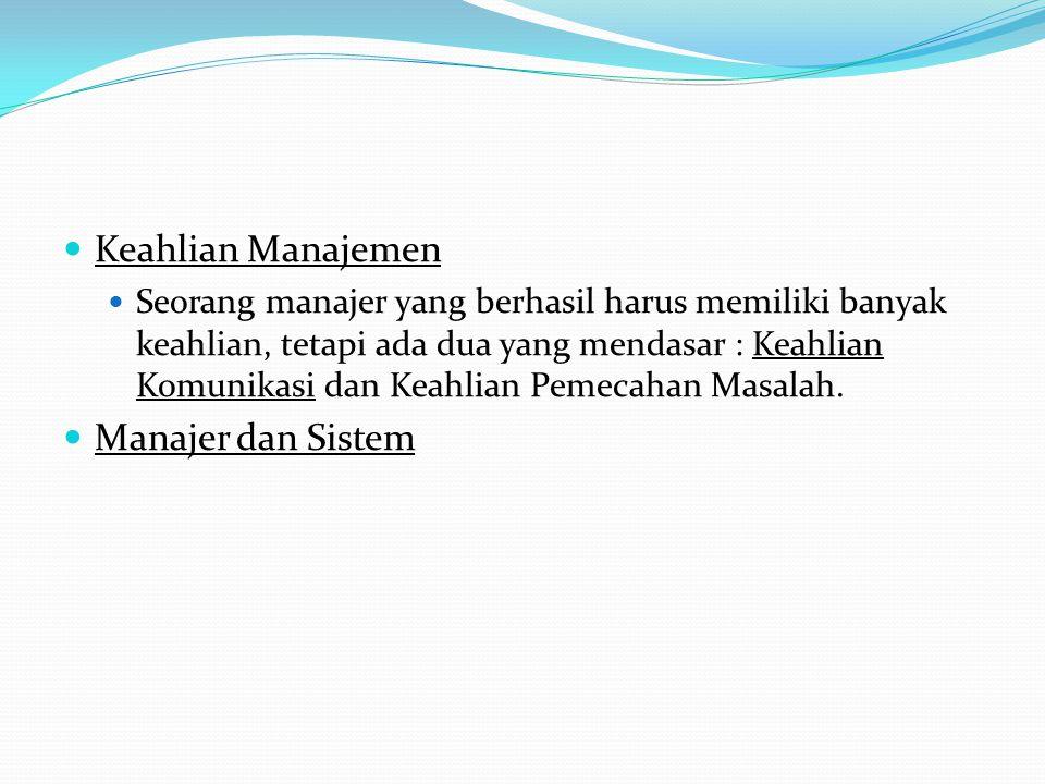 Keahlian Manajemen Manajer dan Sistem
