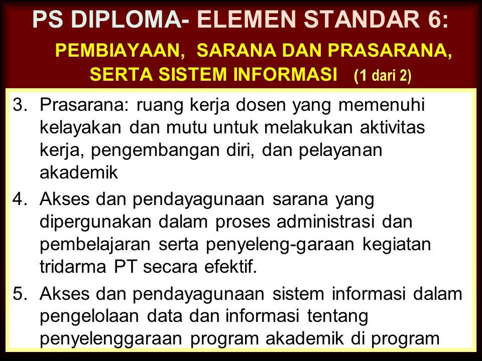PS DIPLOMA- ELEMEN STANDAR 6: pembiayaan, sarana dan prasarana, serta sistem informasi (1 dari 2)