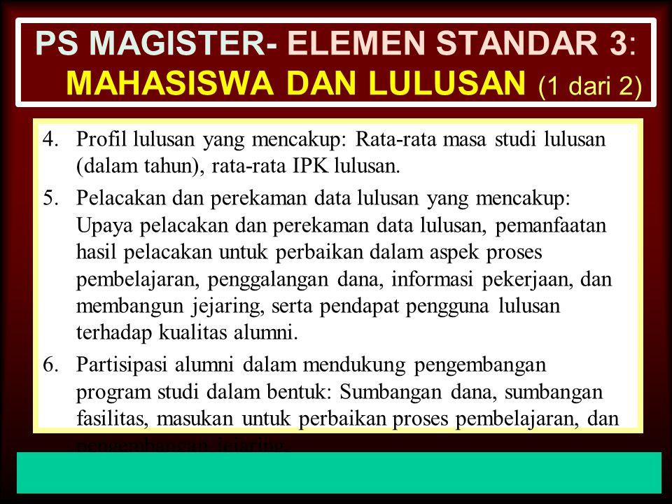 PS MAGISTER- ELEMEN STANDAR 3: mahasiswa dan Lulusan (1 dari 2)