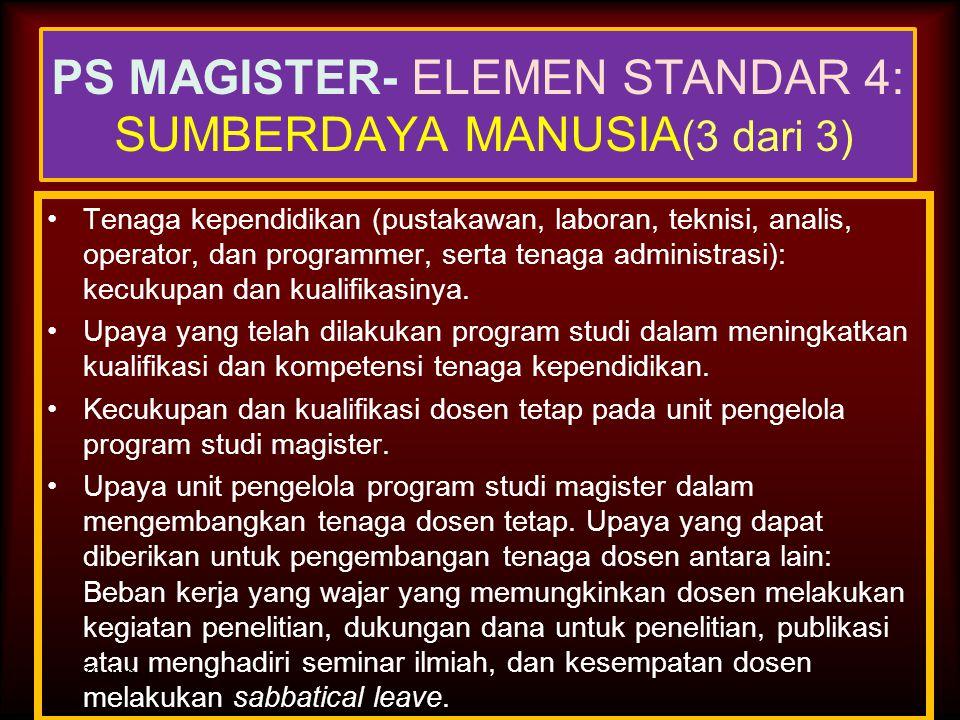PS MAGISTER- ELEMEN STANDAR 4: SUMBERDAYA MANUSIA(3 dari 3)
