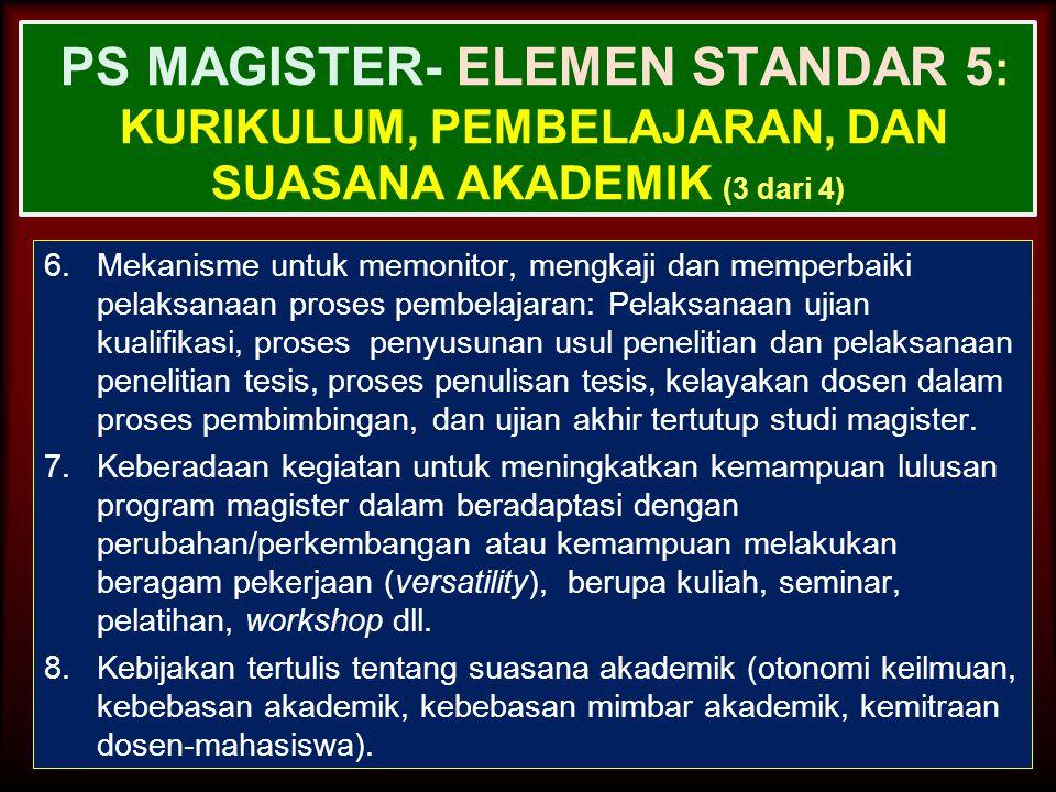 PS MAGISTER- ELEMEN STANDAR 5: Kurikulum, Pembelajaran, dan Suasana Akademik (3 dari 4)