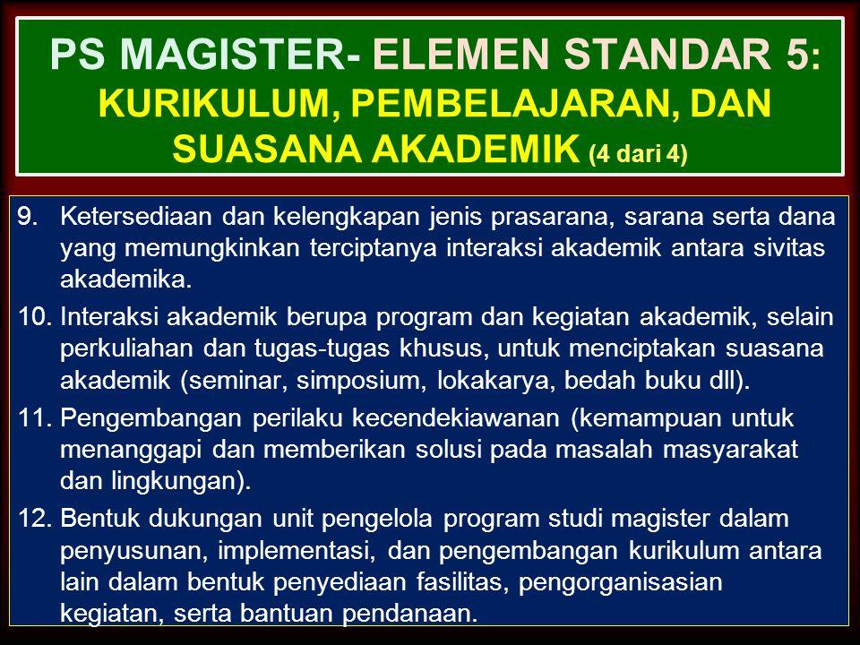 PS MAGISTER- ELEMEN STANDAR 5: Kurikulum, Pembelajaran, dan Suasana Akademik (4 dari 4)