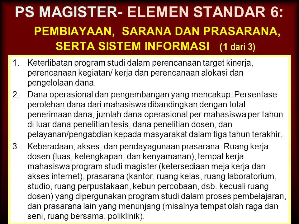 PS MAGISTER- ELEMEN STANDAR 6: pembiayaan, sarana dan prasarana, serta sistem informasi (1 dari 3)