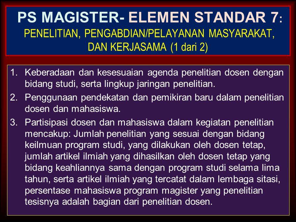 PS MAGISTER- ELEMEN STANDAR 7: PENELITIAN, PENGABDIAN/PELAYANAN MASYARAKAT, DAN KERJASAMA (1 dari 2)