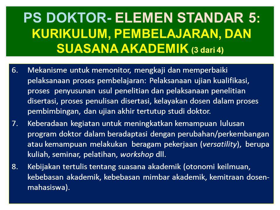 PS DOKTOR- ELEMEN STANDAR 5: Kurikulum, Pembelajaran, dan Suasana Akademik (3 dari 4)