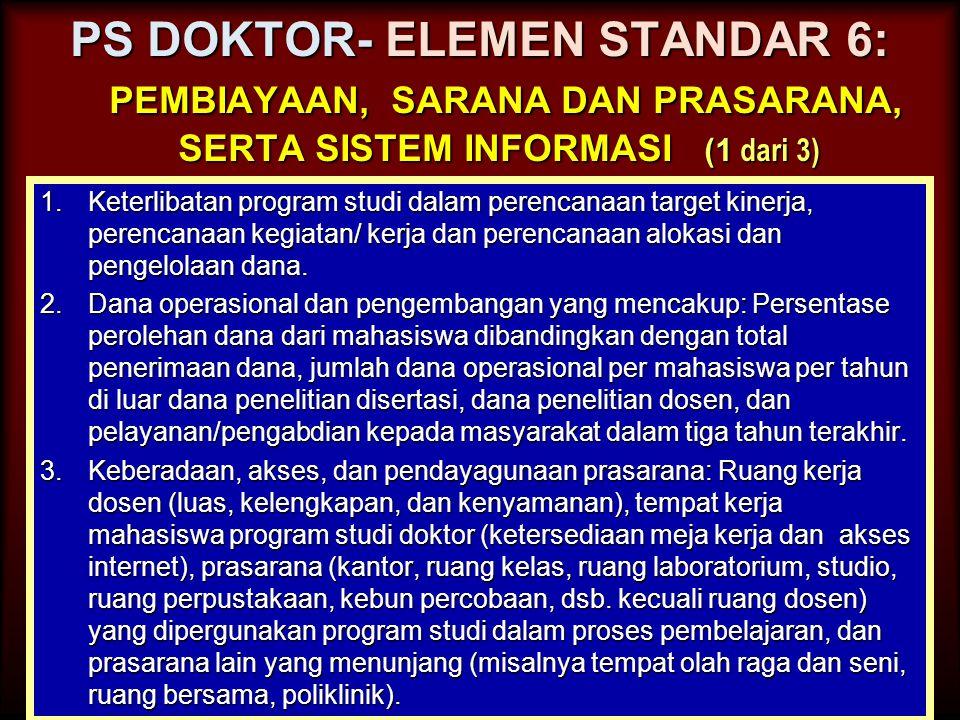 PS DOKTOR- ELEMEN STANDAR 6: pembiayaan, sarana dan prasarana, serta sistem informasi (1 dari 3)