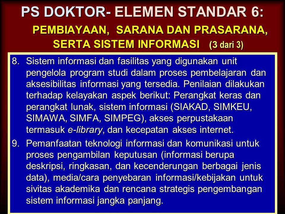 PS DOKTOR- ELEMEN STANDAR 6: pembiayaan, sarana dan prasarana, serta sistem informasi (3 dari 3)
