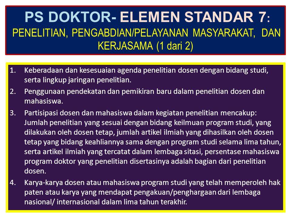 PS DOKTOR- ELEMEN STANDAR 7: PENELITIAN, PENGABDIAN/PELAYANAN MASYARAKAT, DAN KERJASAMA (1 dari 2)