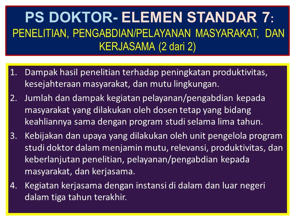 PS DOKTOR- ELEMEN STANDAR 7: PENELITIAN, PENGABDIAN/PELAYANAN MASYARAKAT, DAN KERJASAMA (2 dari 2)