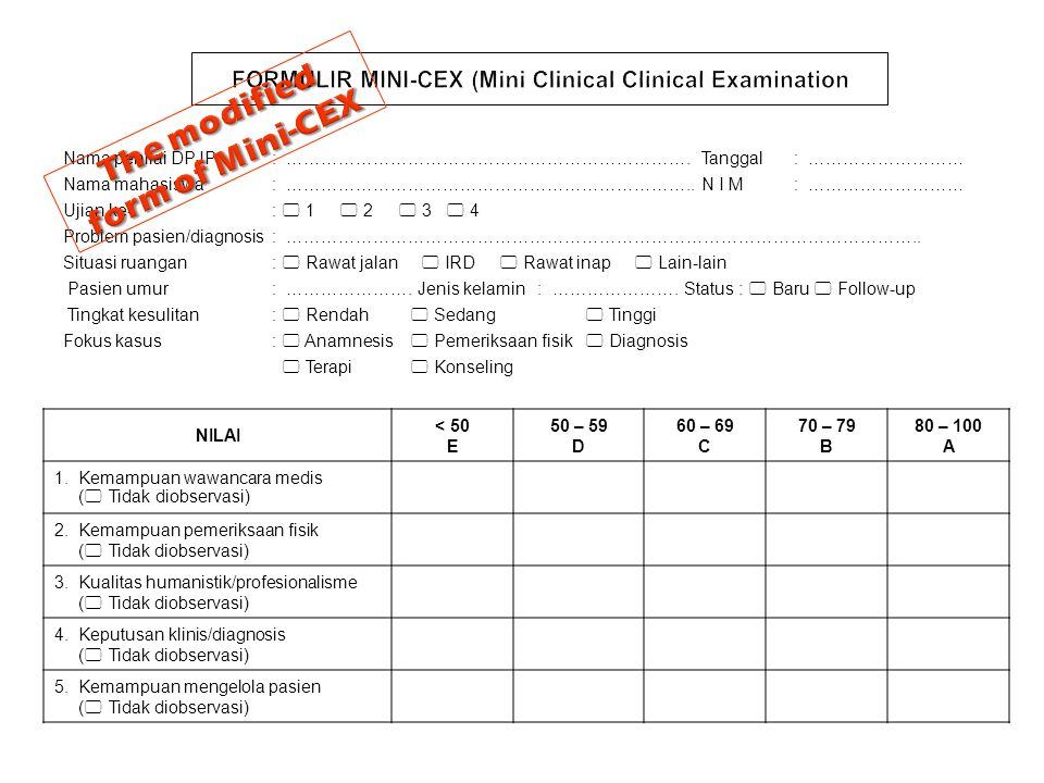 FORMULIR MINI-CEX (Mini Clinical Clinical Examination