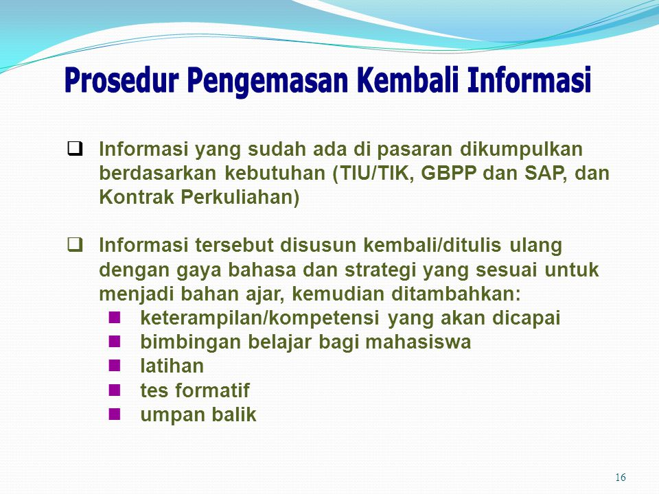 Prosedur Pengemasan Kembali Informasi