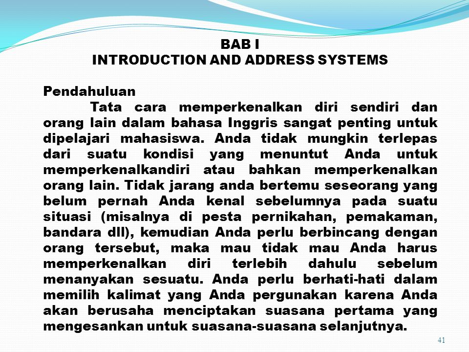 INTRODUCTION AND ADDRESS SYSTEMS