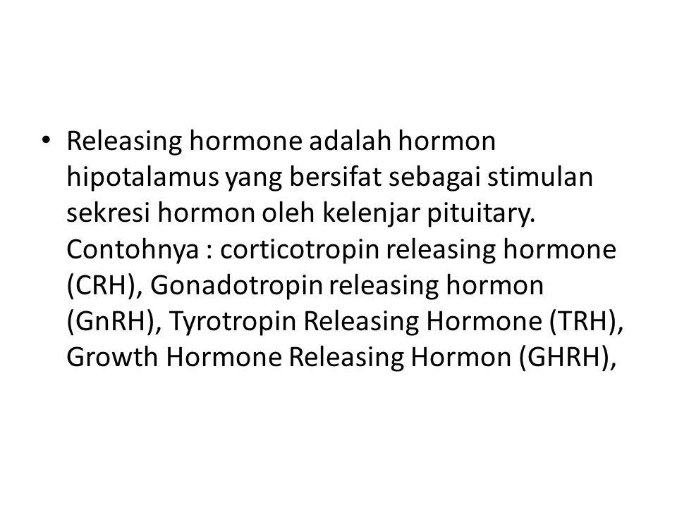 Releasing hormone adalah hormon hipotalamus yang bersifat sebagai stimulan sekresi hormon oleh kelenjar pituitary.