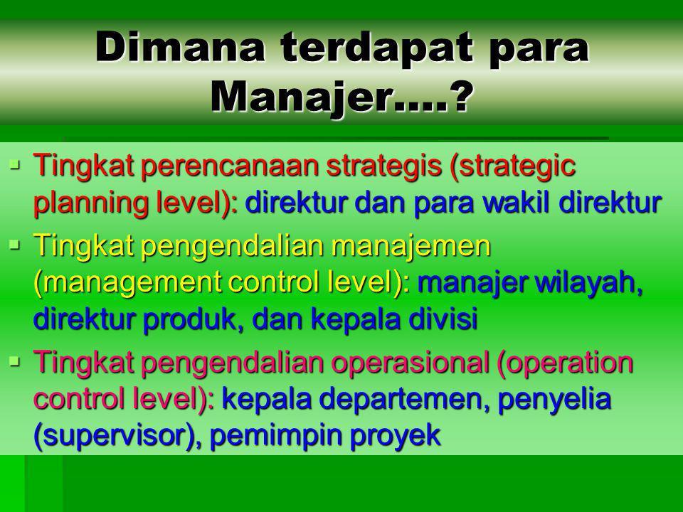 Dimana terdapat para Manajer….