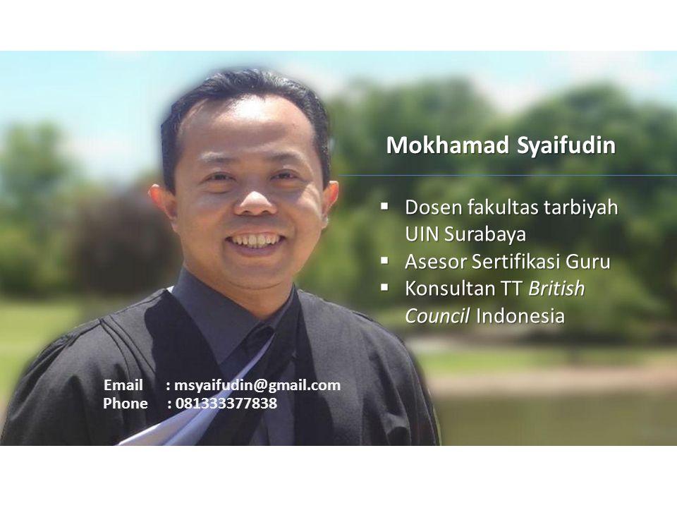 Mokhamad Syaifudin Dosen fakultas tarbiyah UIN Surabaya