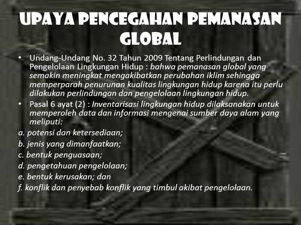 UPAYA PENCEGAHAN PEMANASAN GLOBAL