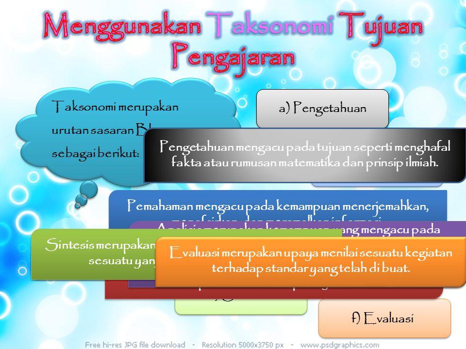 Menggunakan Taksonomi Tujuan Pengajaran