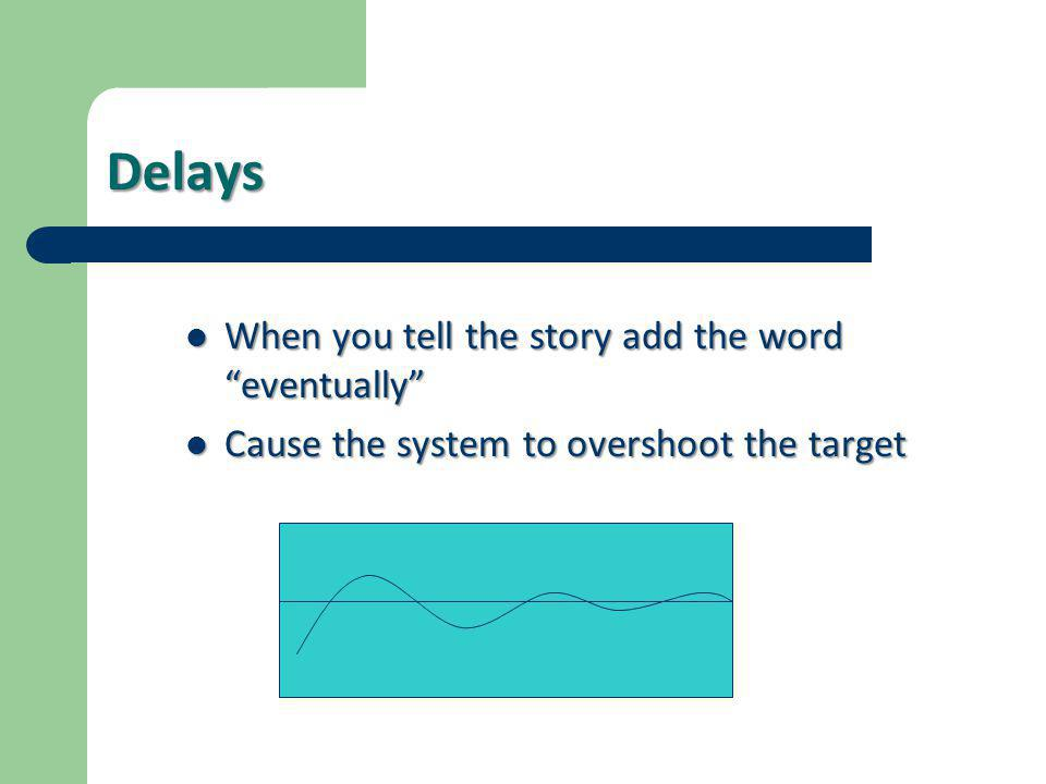 Delays When you tell the story add the word eventually