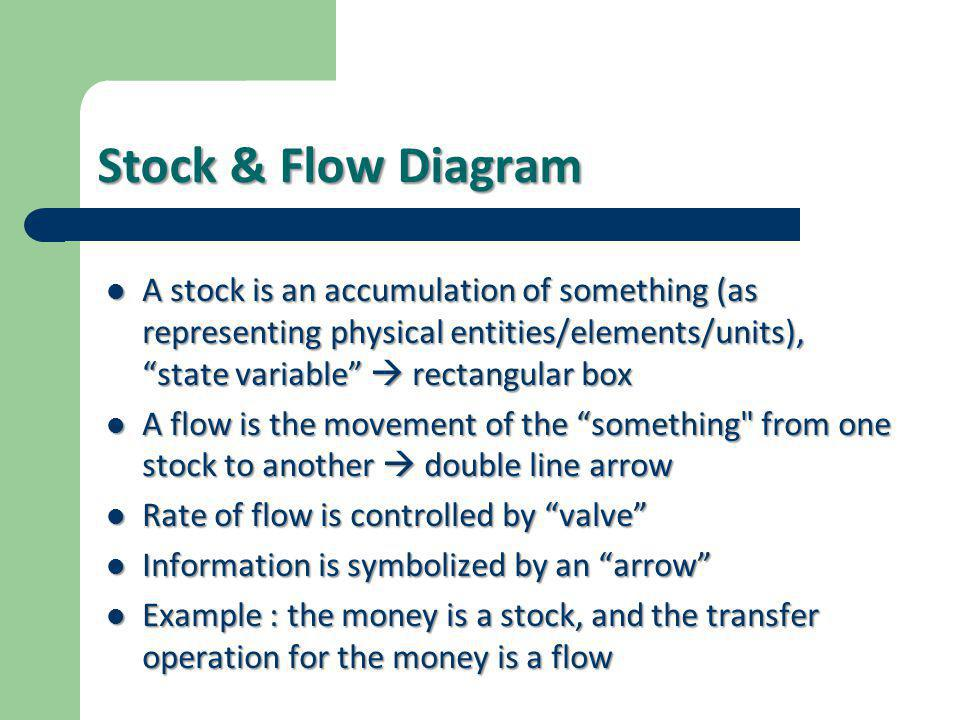 Stock & Flow Diagram A stock is an accumulation of something (as representing physical entities/elements/units), state variable  rectangular box.
