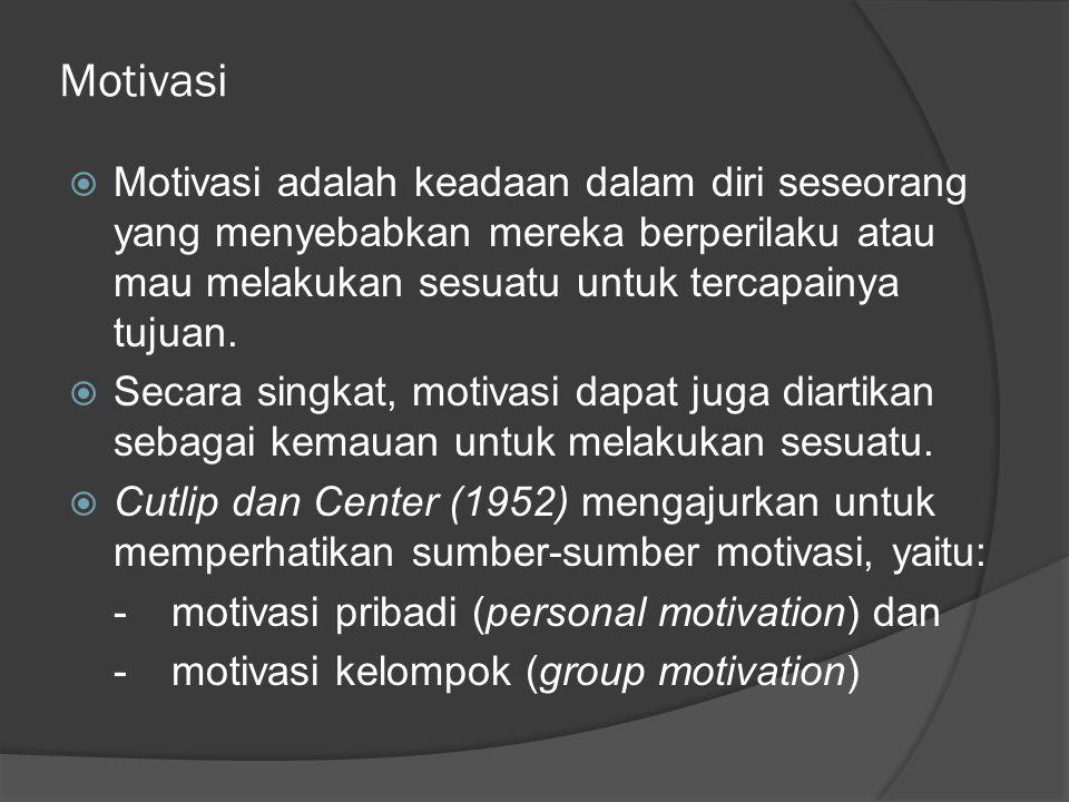 Motivasi Motivasi adalah keadaan dalam diri seseorang yang menyebabkan mereka berperilaku atau mau melakukan sesuatu untuk tercapainya tujuan.