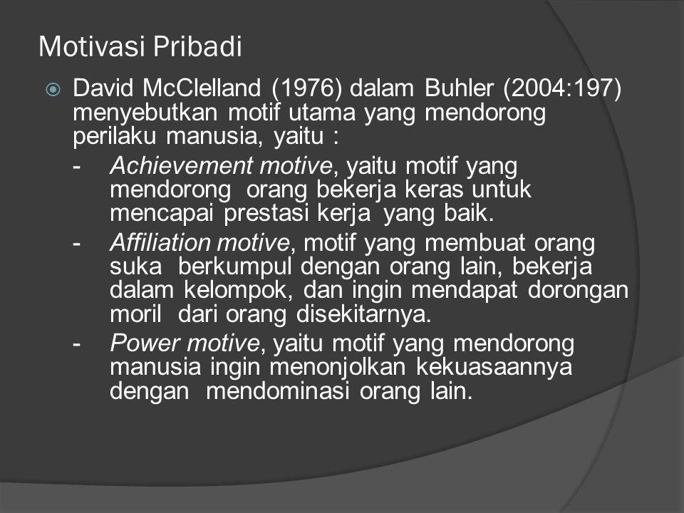 Motivasi Pribadi David McClelland (1976) dalam Buhler (2004:197) menyebutkan motif utama yang mendorong perilaku manusia, yaitu :
