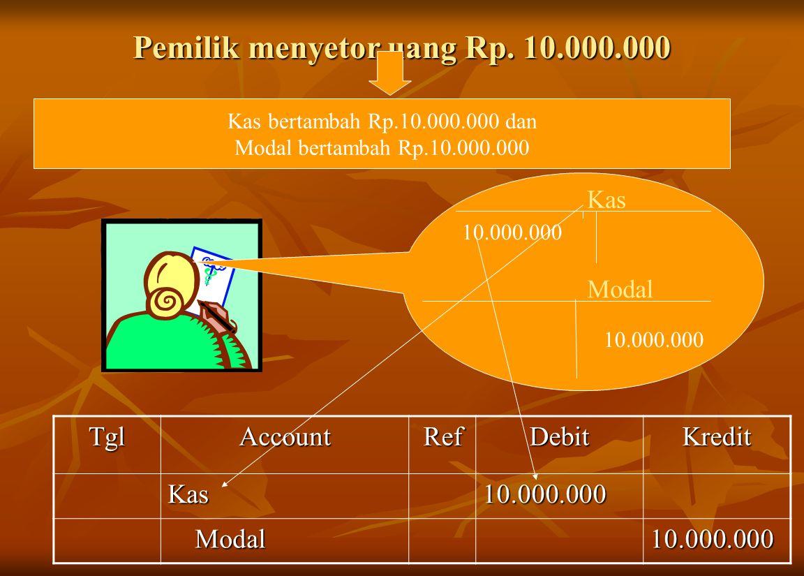Pemilik menyetor uang Rp. 10.000.000
