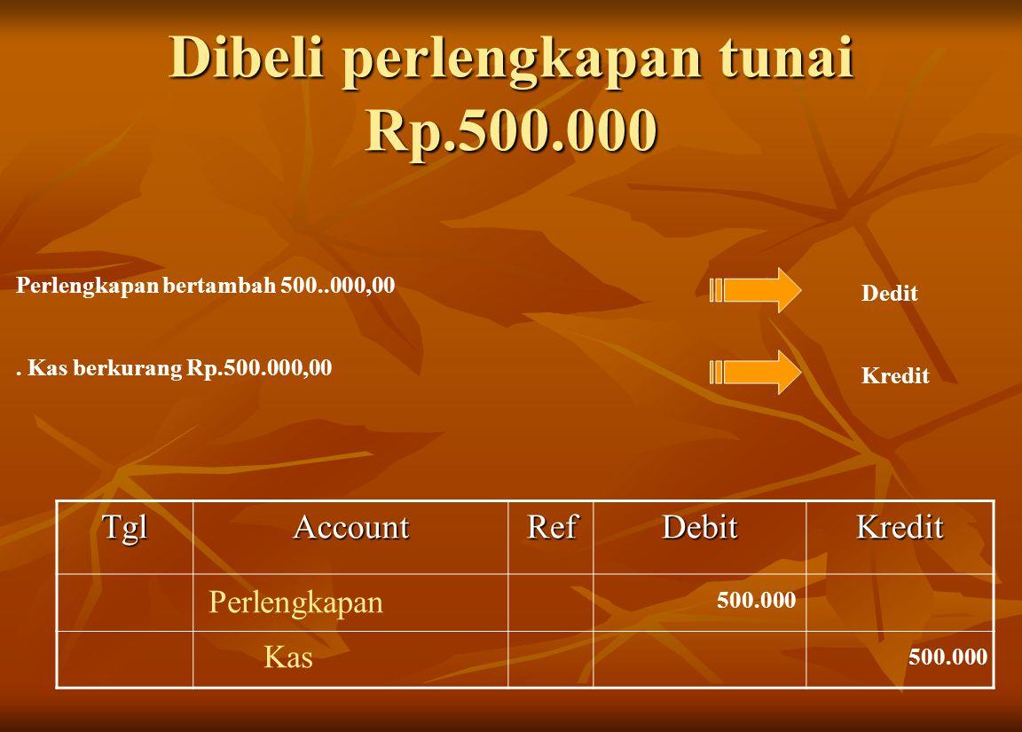Dibeli perlengkapan tunai Rp.500.000