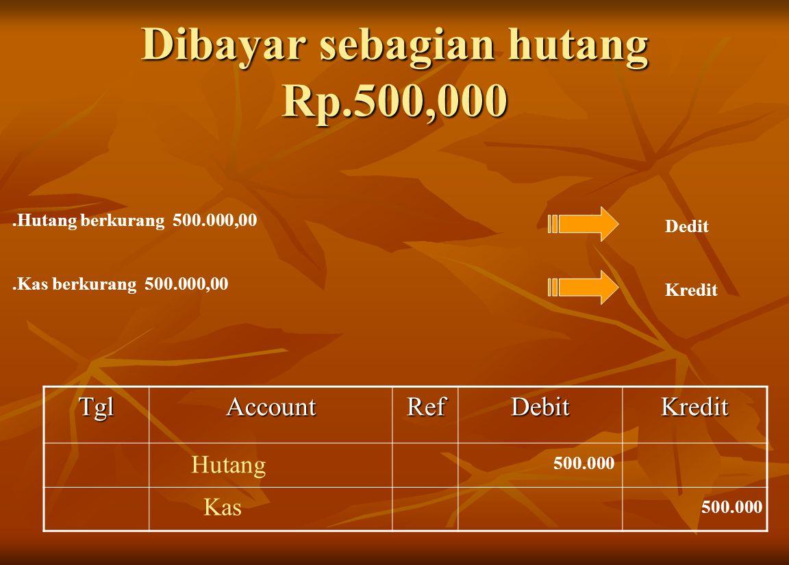 Dibayar sebagian hutang Rp.500,000
