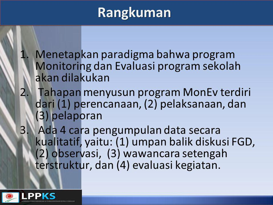 Rangkuman Menetapkan paradigma bahwa program Monitoring dan Evaluasi program sekolah akan dilakukan.
