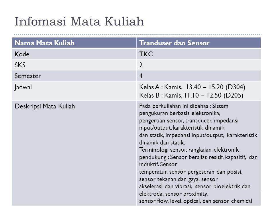 Infomasi Mata Kuliah Nama Mata Kuliah Tranduser dan Sensor Kode TKC