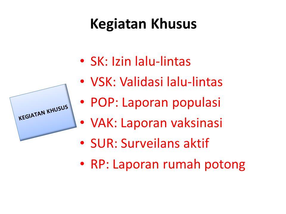 Kegiatan Khusus SK: Izin lalu-lintas VSK: Validasi lalu-lintas