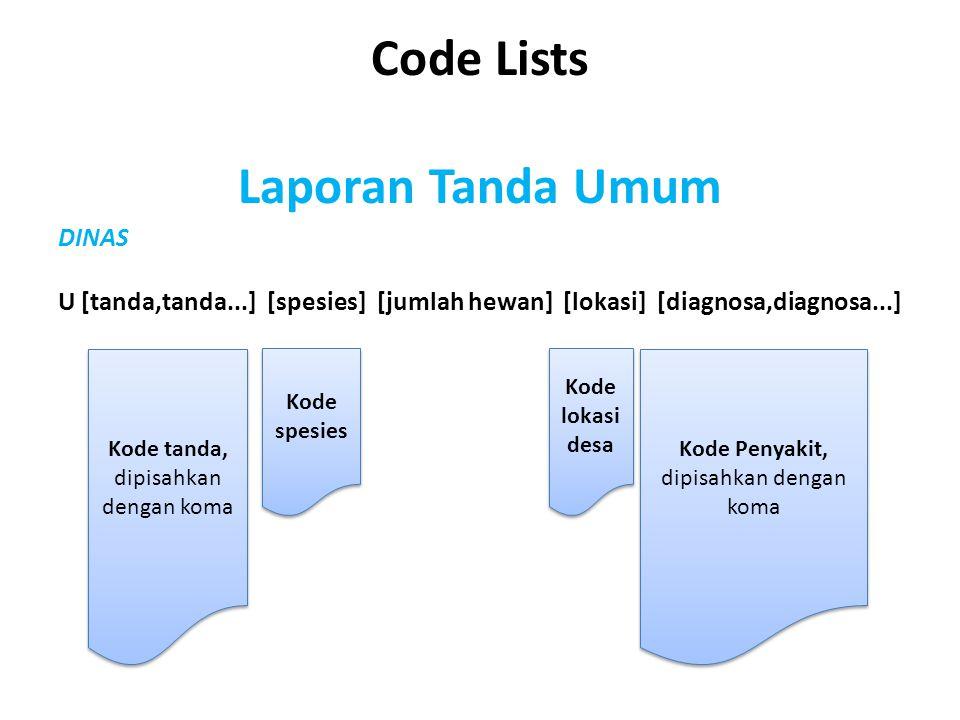Code Lists Laporan Tanda Umum