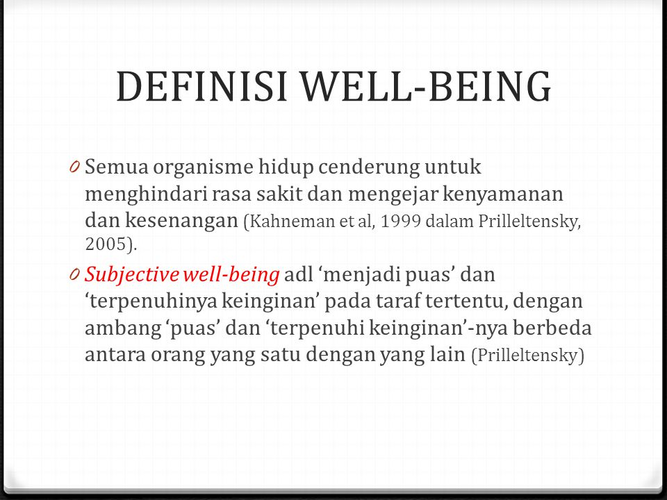 DEFINISI WELL-BEING