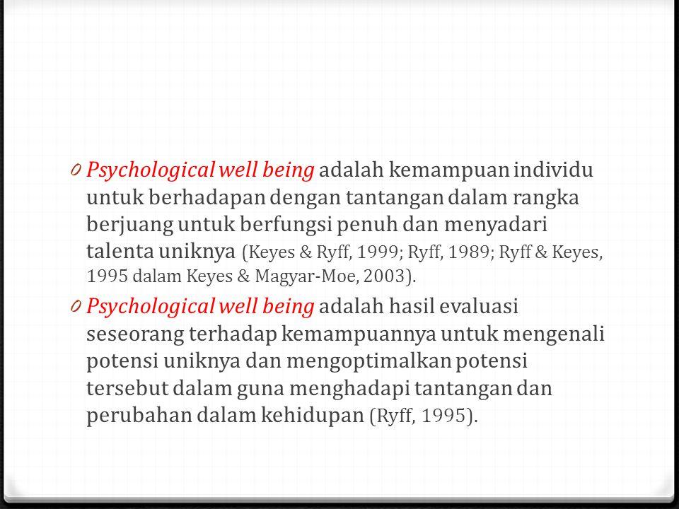 Psychological well being adalah kemampuan individu untuk berhadapan dengan tantangan dalam rangka berjuang untuk berfungsi penuh dan menyadari talenta uniknya (Keyes & Ryff, 1999; Ryff, 1989; Ryff & Keyes, 1995 dalam Keyes & Magyar-Moe, 2003).
