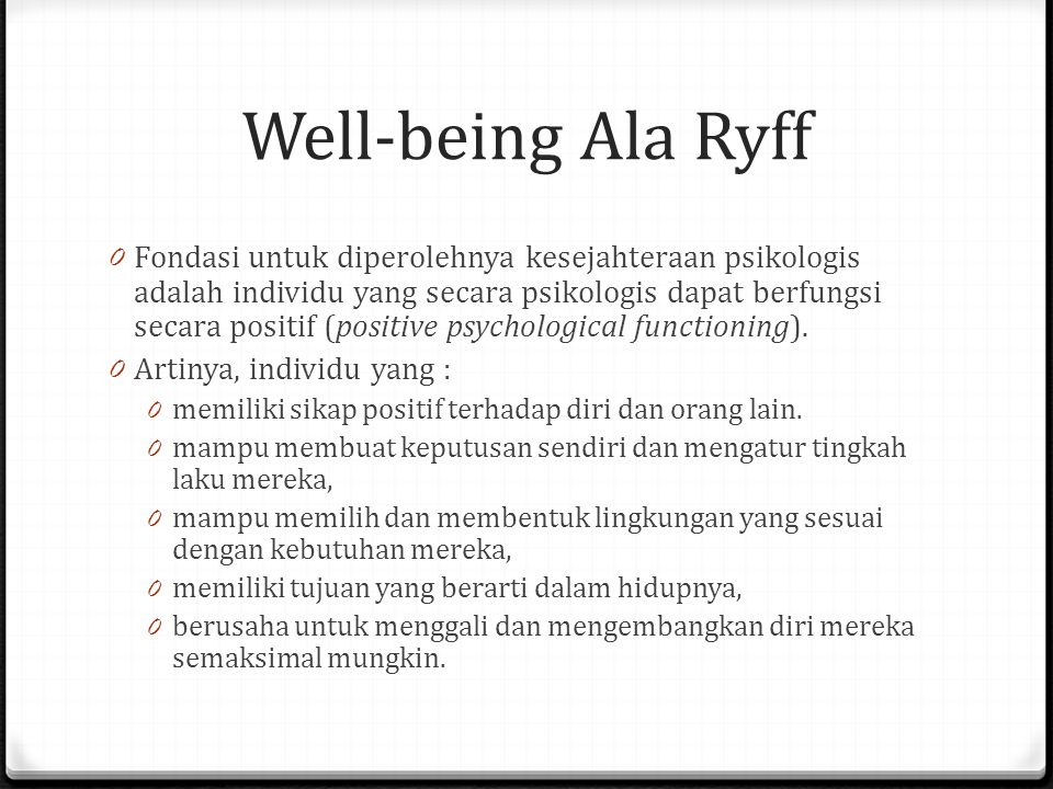 Well-being Ala Ryff